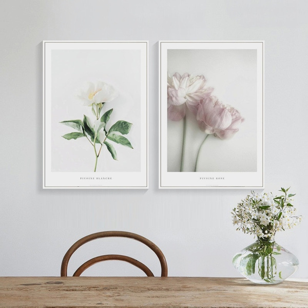 Nordic Decorative White & Pink Peonies Canvas Art Print Wall Poster Wall  Pictures Painting Wall Art for Bedroom Living Room Home Decor Frame Not ...