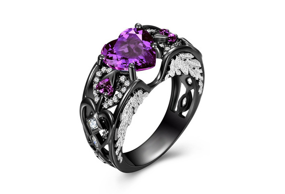 Junxin Heart Shaped Lab-created Purple Amethyst 925 Sterling Silver Angel Wing Ring For Valentine's Day Gift Size 6 7 8 9 10