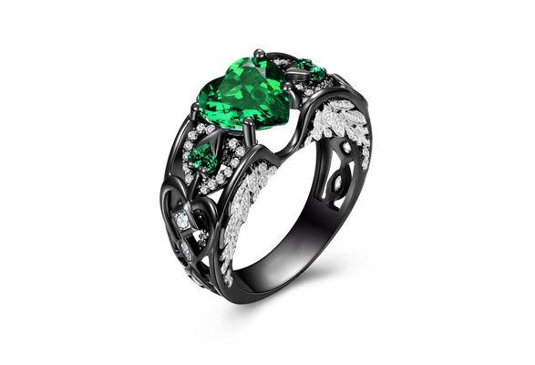 Junxin Heart Shaped Lab-created Green Emerald 925 Sterling Silver Angel Wing Ring For Valentine's Day Gift Size 6 7 8 9 10