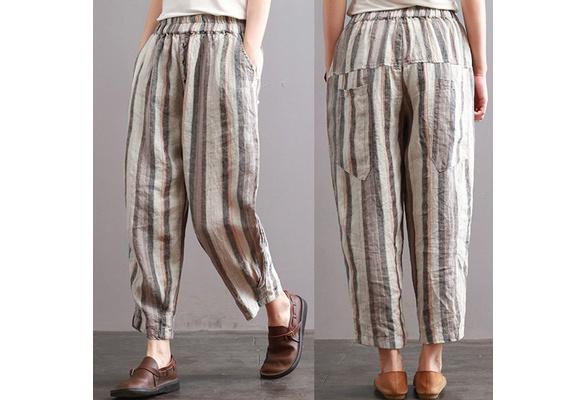 ZANZEA Women's Vintage Loose Cotton Harem Pants Casual Comfortable Linen Striped Pants.
