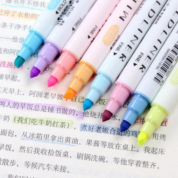 12Pcs Marker Pens Mild Liner Headed Fluorescent Pen Art Highlighter Drawing