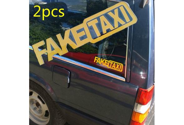 Wish 2pcs 20x5cm Fake Taxi Funny Jdm Drift Turbo Hoon Race Sticker Home Decor Wall Decal Cars Auto Window Bumper Vinyl Tablet