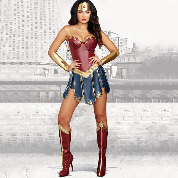 023aa9d9 Fashion Sexy Superhero Costume Halloween Wonder Woman Cosplay Movie ...