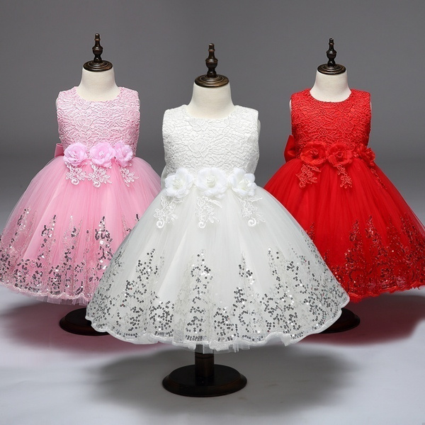 13b063f18171 2018 Girls Lace Sequins Formal Evening Wedding Gown Tutu Princess ...