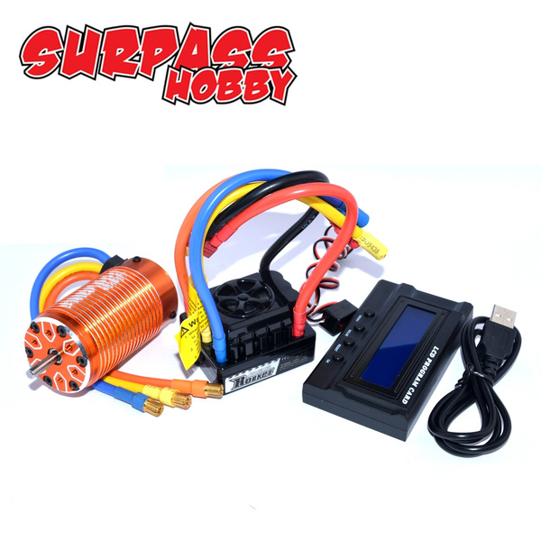 Surpass hobby 4076 2000KV Sensorless Brushless Motor +120A ESC Programming  Card for 1/8 RC Car