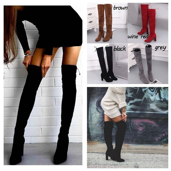 6ac3a9a41d1 36~43 PLUS SIZE Women Stretch Slim Thigh High Boots Sexy Fashion Over the  Knee Boots High Heels Woman Shoes