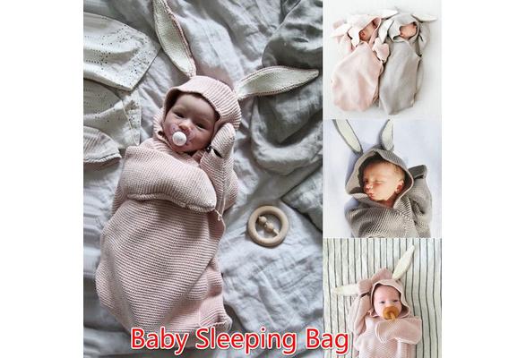 851989125 2018 Rabbit Ear Cute Knit Blanket Newborn Baby Blanket Sleeping Bag ...