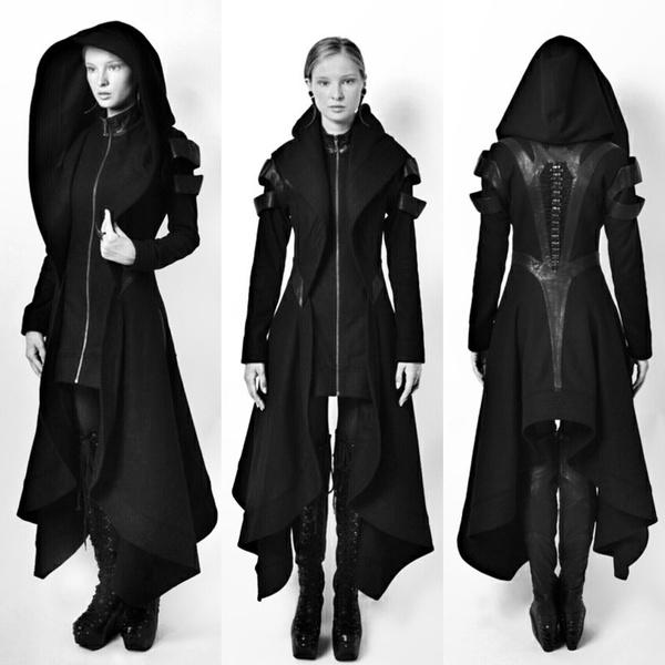 20279deb8 Cool Women Cosplay Coat Irregular Hooded Leather Patchwork Tops Cosplay  Avant Long Coat Gothic Ninja Hero Clothing Warm Sexy Black Cape Coat  Sweater ...