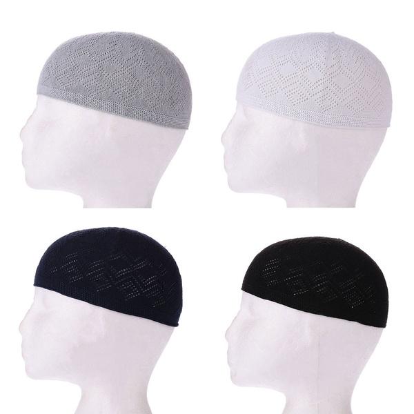 Embrodery Skull   Outdoor Head Wear  Beanie Cap  Men Muslim Hat Islamic Prayer