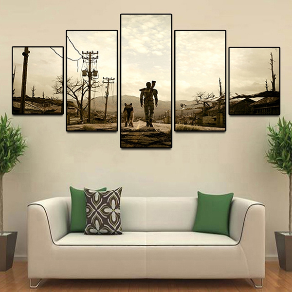 Unframed 5 Pcs Modern Wall Art Deco Painting Fallout 4 Game Canvas Print  Game Poster Home Decor for Living Room Bedroom Wall Pictures