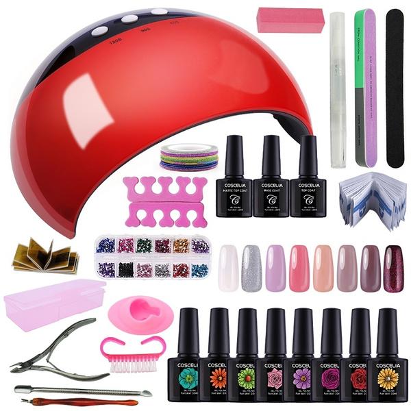 Coscelia Kit Vernis Semi Permanent 24 W Lampe Pour Ongle Led Manucure Vernis à Ongle Topcoat Et Base Gel Nail Art Kit