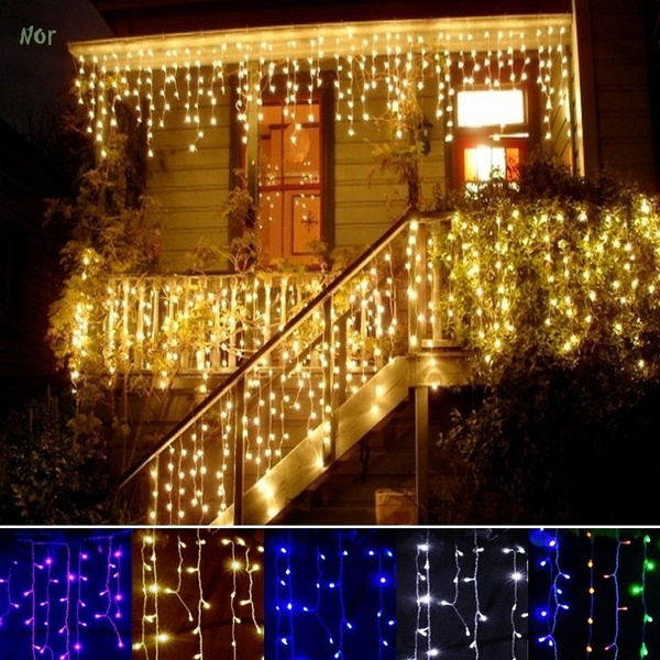 Christmas Light Curtains.Led Icicle Lights Warm White Patio Fairy String Lights Outdoor Christmas Lights Outdoor Holiday Icicle Lights Curtains Lights Starry Lights With 8