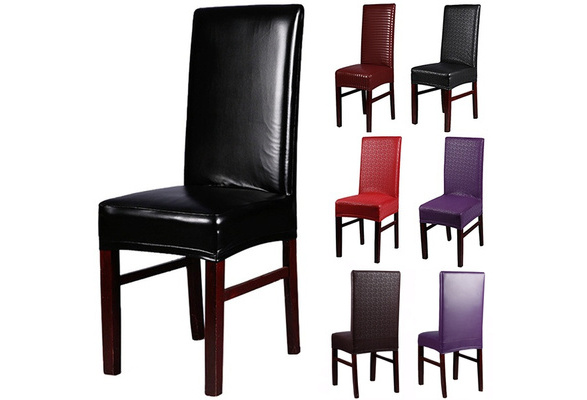 Home Chair Cover Wedding Decoration Stretch PU Leather Spandex Dining Chair Slipcovers