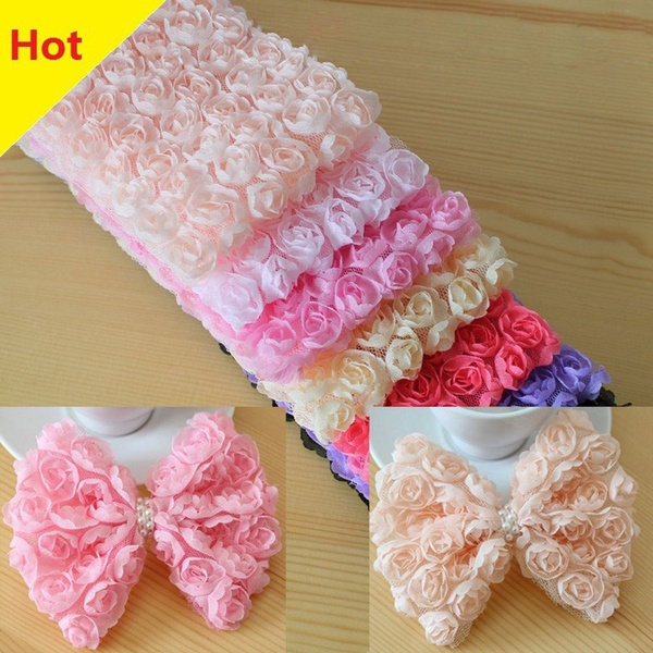 6 Row DIY Sewing Embroidered Rose Flower Lace Trim Ribbon Fabric 3D Chiffon