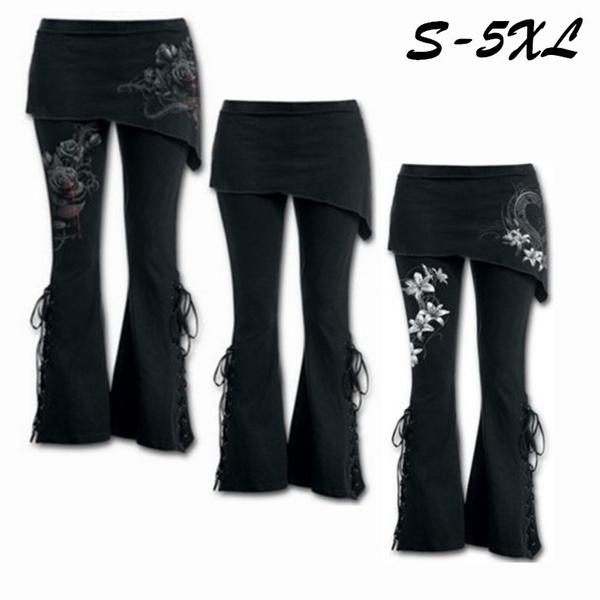 839382ee9eefd5 Women 2 In 1 Boot Cut Leggings Pants with Micro Slant Skirt Gothic ...