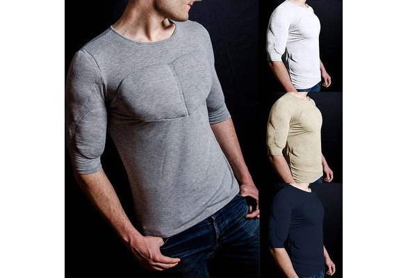 2d44394c 2018 New Men Padded Muscle Shirt Solid Color O Neck Half Sleeve Cotton T  Shirt Slim Fit Basic Tee Fake Muscles T Shirt | Wish