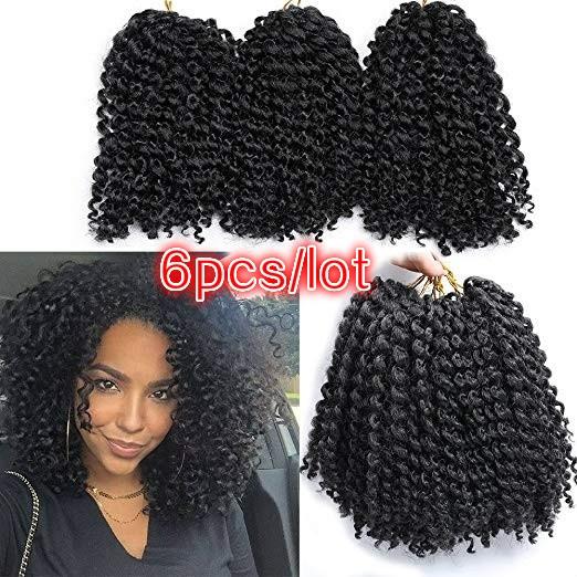6 Pieces Marlybob Crochet Hair Afro Kinky Curly Hair Crochet Braids