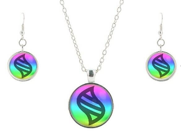 Wish Pokemon Mega Stone Necklace Earring Jewelry Sets Glass Heart
