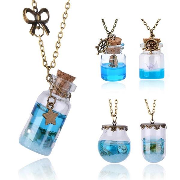 9d59180ec97e Hot Products Cute Necklace Glass Vial Necklace Ocean necklace Glass Bottle  Pendant Miniature bottle Paper Boat bottle Necklace