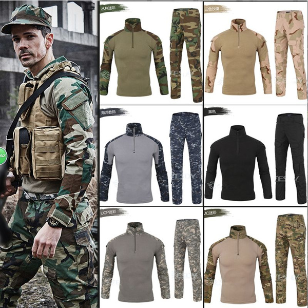 Uomo Army Tactical Military PANTS breathable Outdoor Casual Mimetico
