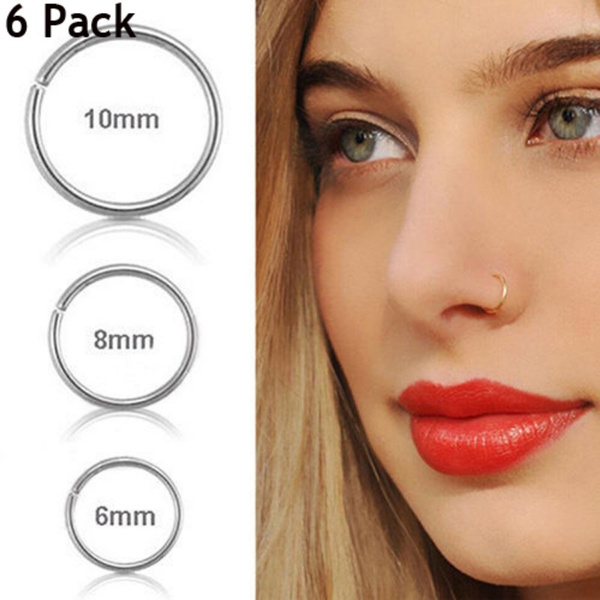 6 Pack Nose Hoop Ring Stainless Steel Body Jewelry Piercing Nose