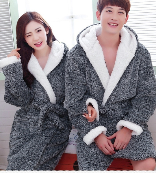 Wish | Flannel Hooded Couples Bathrobes Women\'s Robes Winter ...