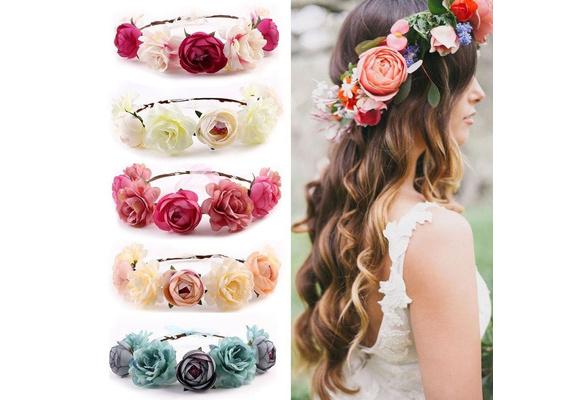 Bride Ribbon Crown Boho Wreath Hairband Headband Flower Wedding Floral