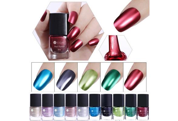 1 Bottle Metallic Nail Polish Mirror Effect Red Rose Gold Metal Nail Lacquer Varnish Fashion Nails 10 Colors