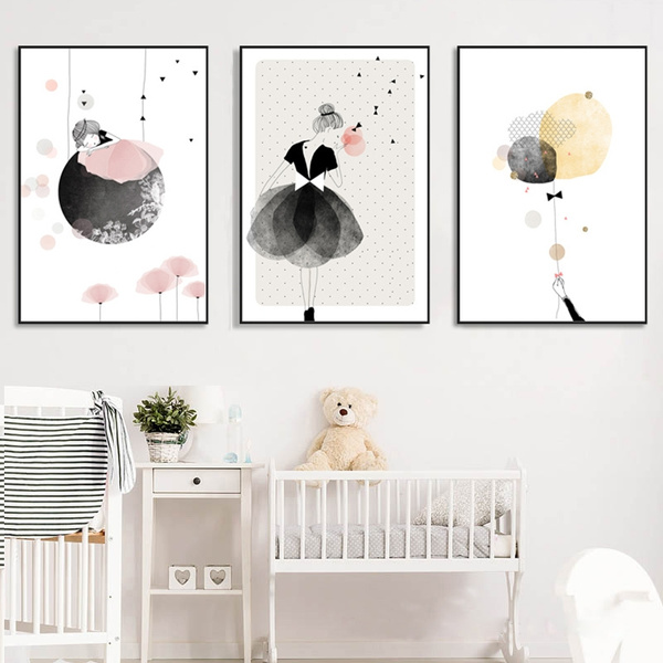 Nordic Kids Room Cute Little Girl Posters and Prints Cartoon Wall Art  Canvas Painting Kid Wall Pictures for Living Room Unframed