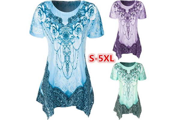 Plus Size Women's Fashion Casual Round Neck Short Sleeve Printing Loose Tank T-shirt Tops