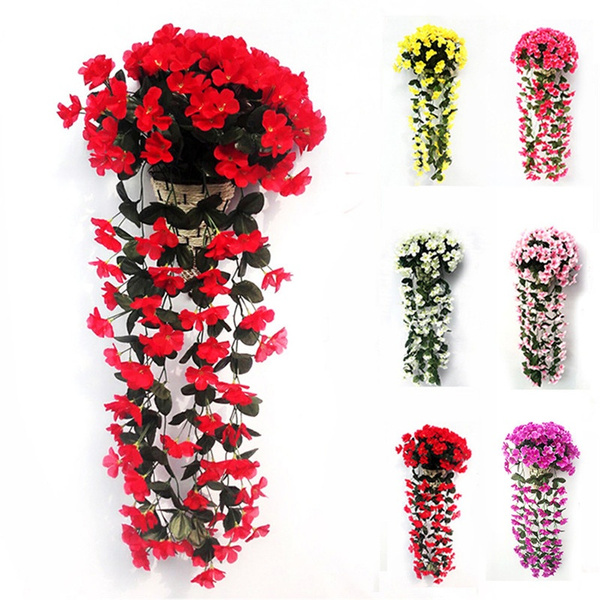 Hanging Wall Artificial Fake Silk Violet Orchid Flowers Rattan Plant Basket