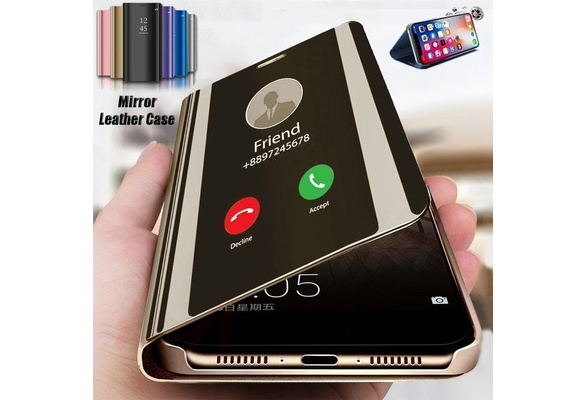 Luxury High-quality Flip Leather Case Multi Function Smart Dormant Plating Mirror Shockproof Cover Curved Stand for Samsung Galaxy S8 S8Plus Note8 S7 S7Edge S6 S6 Edge IPhone X 8 8Plus 7 7Plus 6s 6Plus Huawei P10/P10 Plus