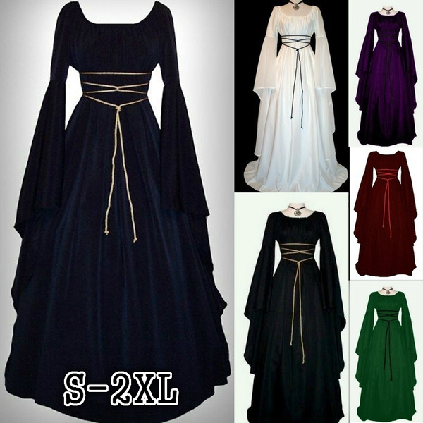 181695f60a8d2 New Fashion Women Medieval Renaissance Retro Gown Cosplay Costume Dress  Long Sleeve Maxi Bandage Dresses