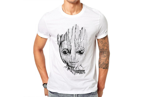 100% Cotton Summer Fashion Men T Shirt Short Sleeve O-neck Groot Printed T Shirts Cool Tee HJ64