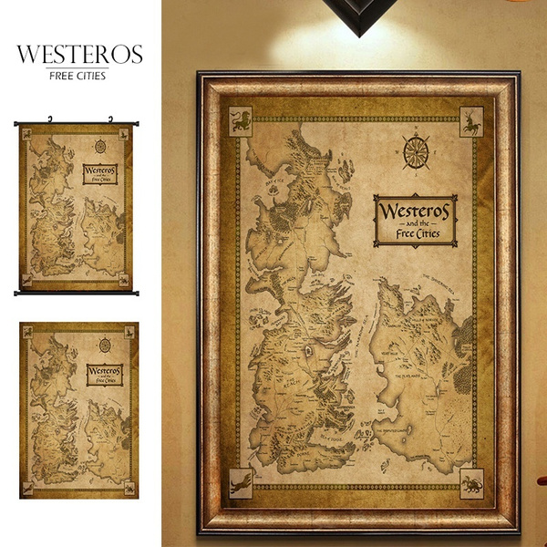 photograph regarding Free Printable Map of Westeros known as Activity Of Thrones Households Map Westeros And Absolutely free Metropolitan areas Silk Cloth Wall Poster Print Artwork Household Decor (20x 30inside of 31x47inside of)