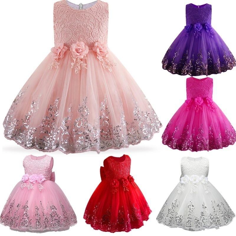 2022b05de144f Baby Mädchen Kleid Mädchen Spitze Pailletten Formale Abendkleid Brautkleid  Tutu Prinzessin Kleid Blume Mädchen Partykleid