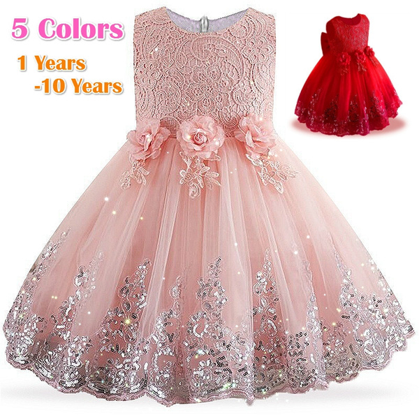 da3bd9019b03 Baby Girls Dress Girls Lace Sequins Formal Evening Wedding Gown Tutu ...