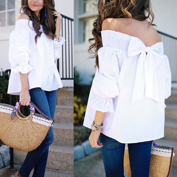 blouse, off shoulder top, white shirt, ruffle