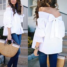 blouse, off shoulder top, white shirt, ruffle