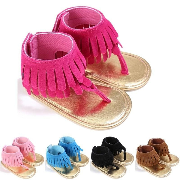 US Cute Toddler Baby Girl Soft Sole  Tassels Summer Slippers Sandals Shoes Size