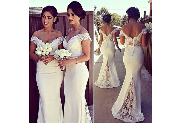 Wedding Bridesmaid White Dresses Ever Pretty Fashion Women Flower One Shoulder Chiffon Lace Long Dresses Bridesmaid Vestido
