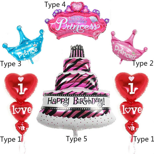 Super 1Pc Happy Birthday Cake Balloons Princess Prince Crown Helium Foil Funny Birthday Cards Online Alyptdamsfinfo