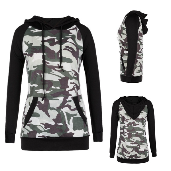 DressU Mens Pocket Fleece Pullover Hooded Camouflage Color Sweatshirts