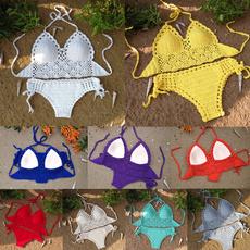 Fashion, crop top, bikini set, Halter