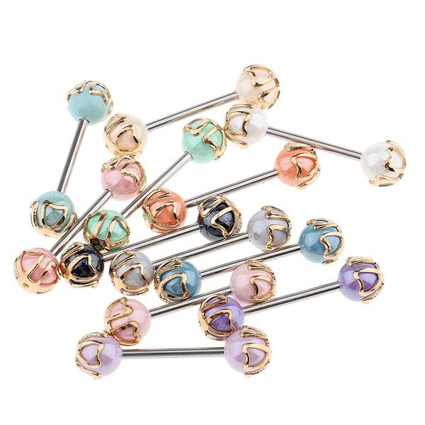 c9ab5edcafd8cf 2pc Sythetic Opal Mandala Sunflower Surgical Steel Nipple Piercing Barbell  Bar Body Jewelry Nipple Ring | Wish