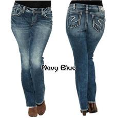 Women Pants, Blues, Plus Size, Casual pants