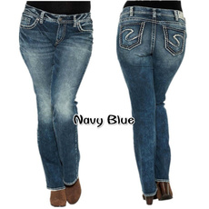 Women Pants, Blues, Plus Size, Casual pants