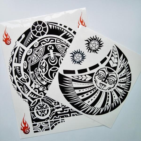 2 Pcs Large Dwayne Johnson Totem Tattoo Sticker Big Size Temporary Tattoos For Men 3d Rock Star Body Art Waterproof Spray Designs