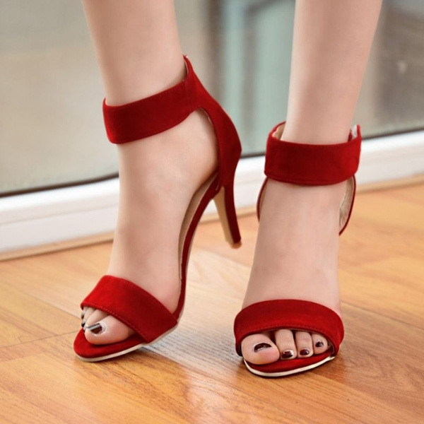 Summer Women T-Stage Classic Dancing High Heel Sandals Stiletto Party Wedding Dress Shoes Sandalias Size 33-42 PA00490