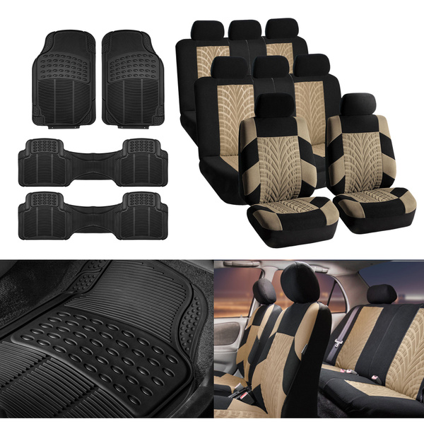 Tremendous 3 Row Suv Van Beige Seat Covers 8 Seaters With Black Floor Mats Toyota Ford Gmc Caraccident5 Cool Chair Designs And Ideas Caraccident5Info